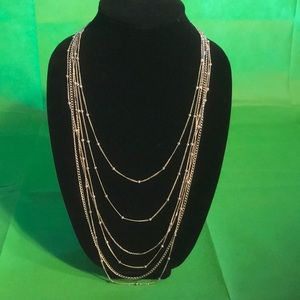 Loft outlet silver tone multi strands necklace